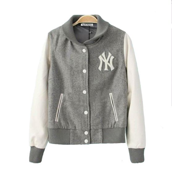 Grey white baseball jacket